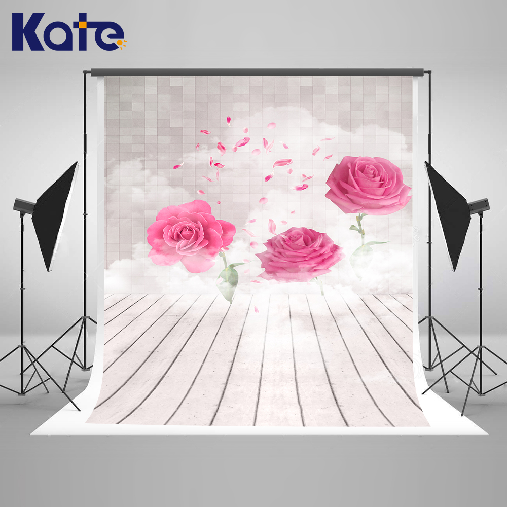 KATE Photography Backdrops Wedding Backdrops Floral Backdrop White Wood Floor Background Newborn Backgrounds for Photo Studio kate photo background wedding backdrop pink photography backdrops vintage wood floor background for photography studio