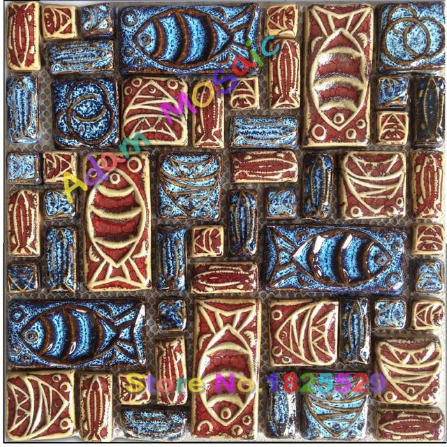 Handmade Ceramic Mosaic Tiles Vintage Fireplace Wall Deco Glazed Tile Backsplash Kitchen Design Art Rustic Porcelain
