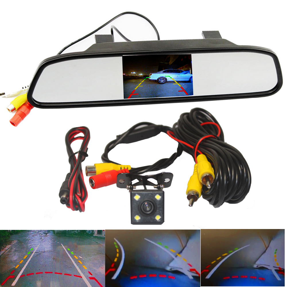 ФОТО Parking Monitor HD Video Auto , LED Night Vision Reversing CCD Car Rear View Camera With 4.3 inch Car Rearview Mirror Monitor
