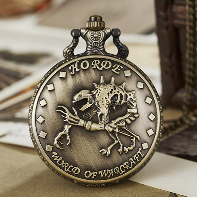 Vintage Pocket Watch Fob Chain World of Warcraft Horde Engrave Clock Mens Flip Bronze Watch Vintage Male Watches for Men Women pocket
