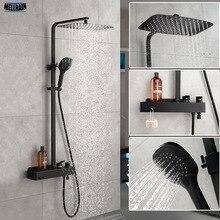Матовый черный набор для ванной тропический душ система настенный смеситель для ванной смеситель для душа с крюком и размещением платформы