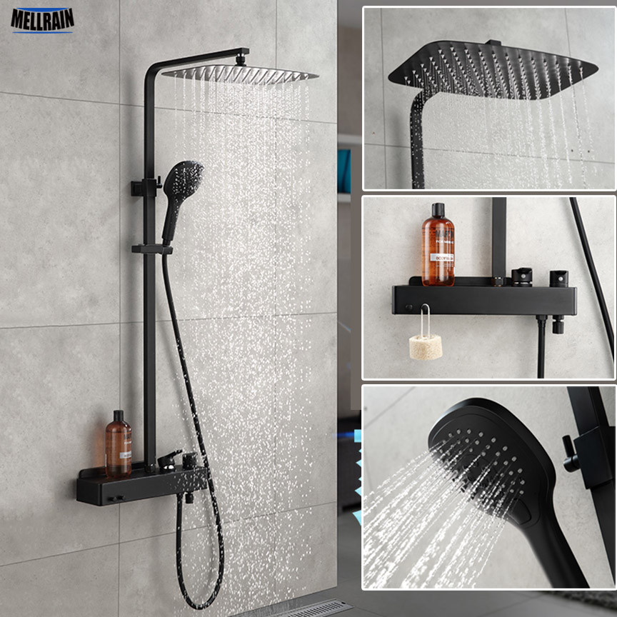 Matt Black Bathroom Rain Shower Set System Wall Mounted Mixer Bath Shower Faucet With Hook And Placement Platform