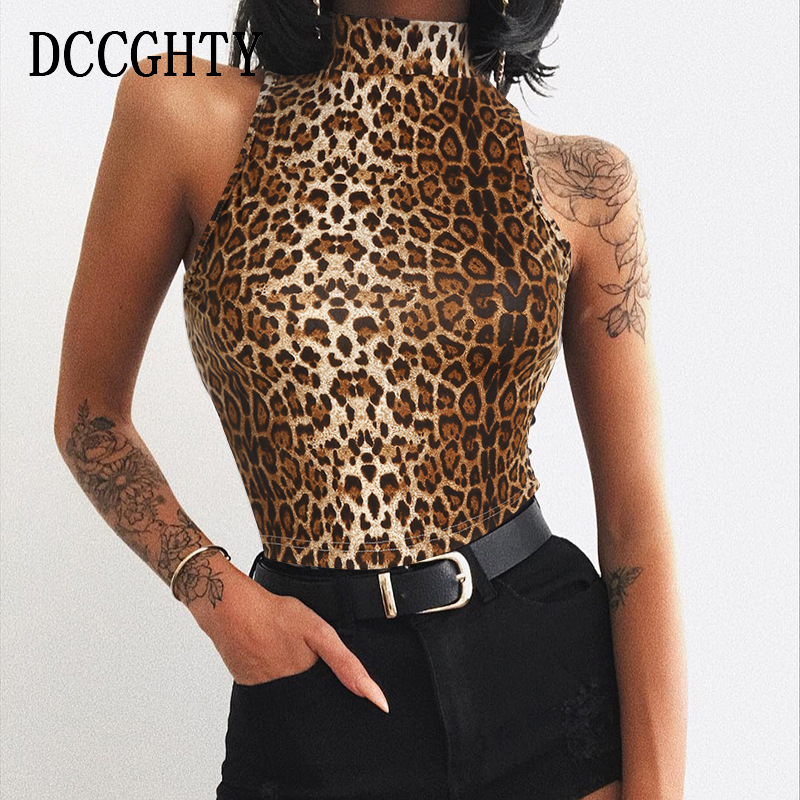 de0aeab3c8d99 Detail Feedback Questions about DCCGHTY Brown Top Sexy Bright Sleeveless  Turtleneck Leopard Print Tshirt Women Crop Top Soft Ladies Short Tees  Shirts 2019 ...