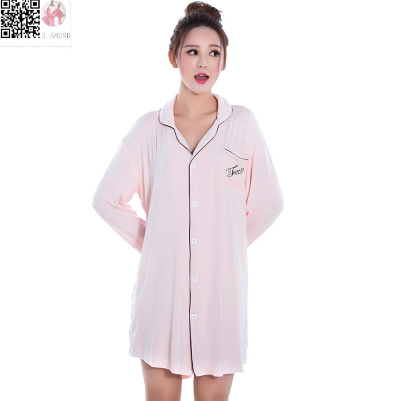 Summer fashion long sleeved cotton sleepwear for women for Long sleep shirts cotton