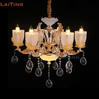 Modern Led Lustre Crystal Chandelier Lighting with Yellow Glass Lampshade +Free shipping