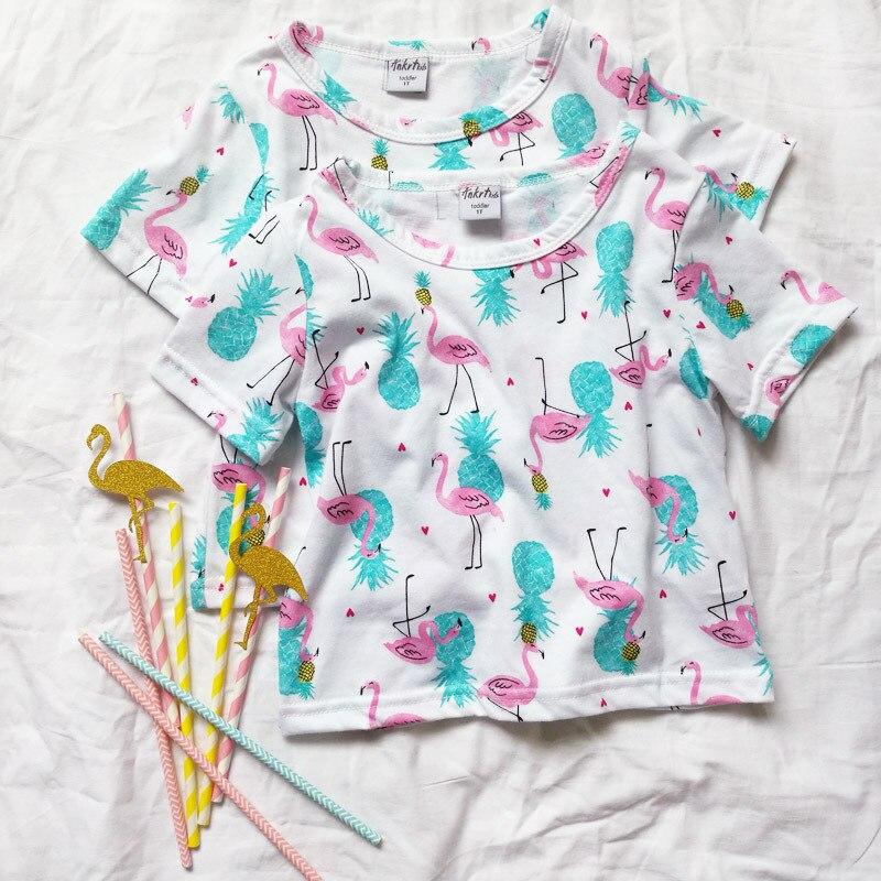 199eaa582 ... Girls T-Shirt Summer Cotton 4Th Of July Shirt T-Shirts Cotton Girls  Flamingo ...