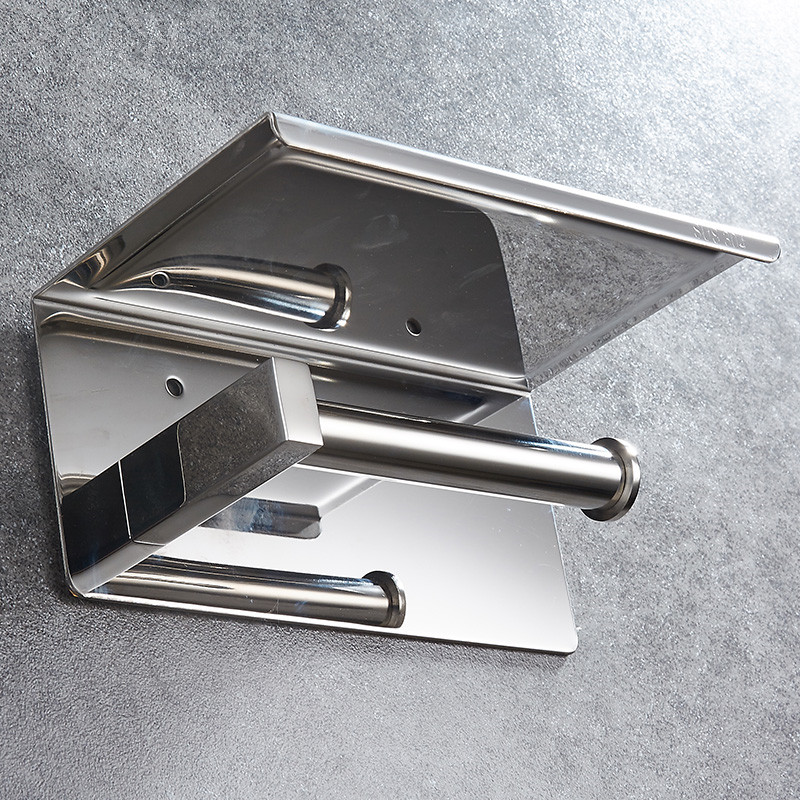 Image 4 - 304 Stainless Steel Toilet Paper Holder With Shelf Wall Mounted Toilet Tissue Mobile Phone Roll Holder Bathroom Accessories-in Paper Holders from Home Improvement