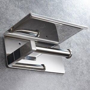 Image 4 - Portarrollos de papel higiénico de acero inoxidable 304, con estante, montado en la pared, para teléfono móvil, accesorios de baño