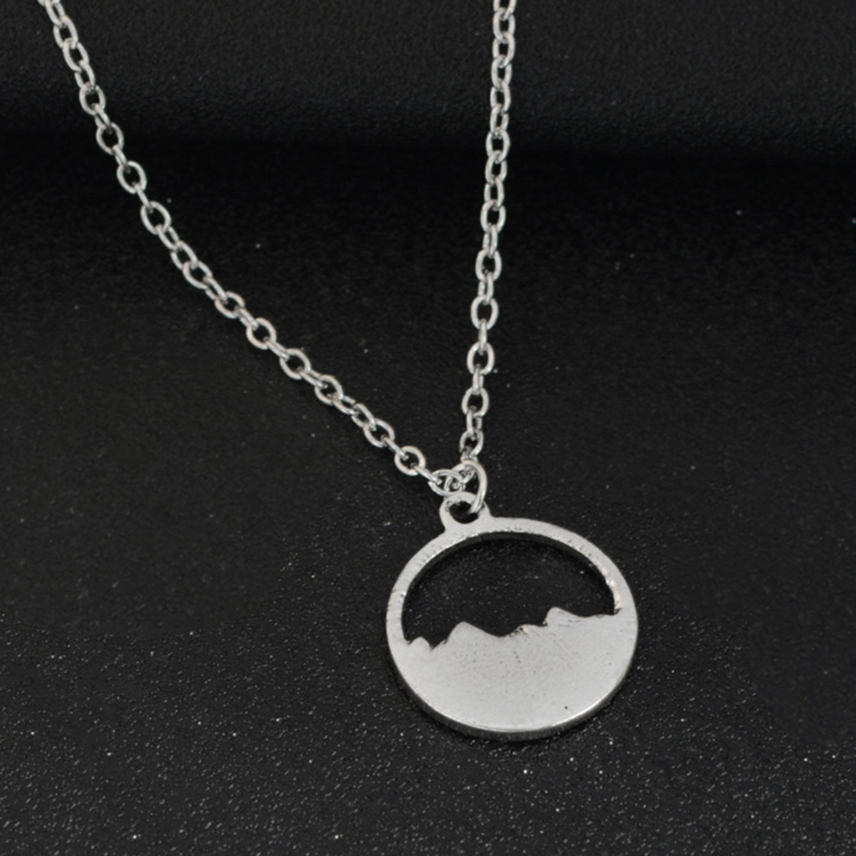 New Long Chain Necklace Antique Simple Silver Plated Mountain ...