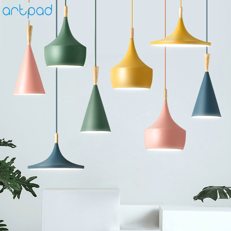 Artpad Modern Nordic Pendant Light Iron Lampshade Wood LED Hanging Lamp for Dining Room Hotel Bedroom Kitchen Lighting Fixtures modern crystal chandelier hanging lighting birdcage chandeliers light for living room bedroom dining room restaurant decoration