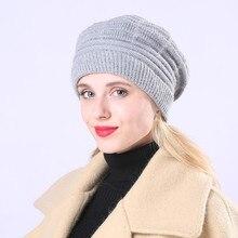 2018 new female winter plus beanies fleece warm beret wool jacquard striped knit cute women  hat
