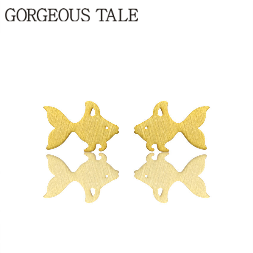 GORGEOUS TALE New Arrival 2017 Trendy Women Boho Jewelry Pendientes Dainty Cute Fish Mermaid Goldfish Stud