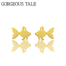 GORGEOUS TALE New Arrival 2017 Trendy Women Boho Jewelry Pendientes Dainty Cute Fish Mermaid Goldfish Stud Party Earrings Femme