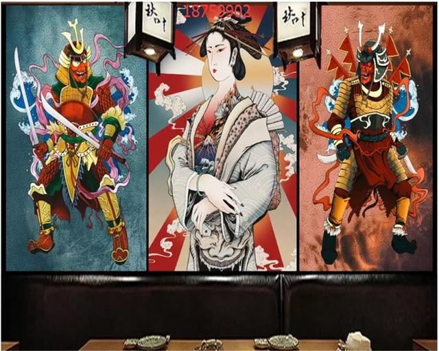 beibehang Custom size Japanese style ukiyoe painted kimono la s