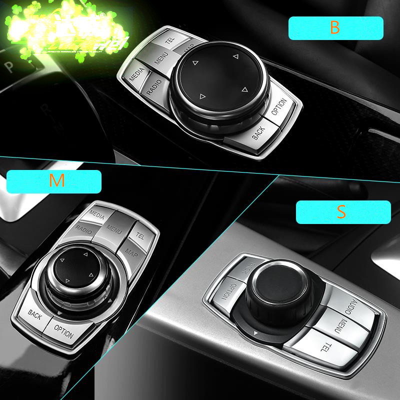 Car Styling Multimedia Button Decoration Stickers For BMW X1 X3 X5 X6 E70 E83 E90 E91 F15 F16 F20 F21 F30 F10 Auto Accessories image
