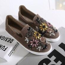 Women Girl Slipony Bling Rhinestone Platform Flats Floral Print  Slip On Breathable Slip On Shoes 2016 Cheap Sale Espadrilles