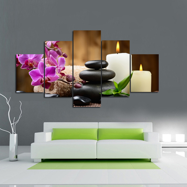 OIL PAINTING ON CANVAS PRINTED Wall Art For Living Room 5 Piece CHINESE  FENGSHUI Purple Orchid