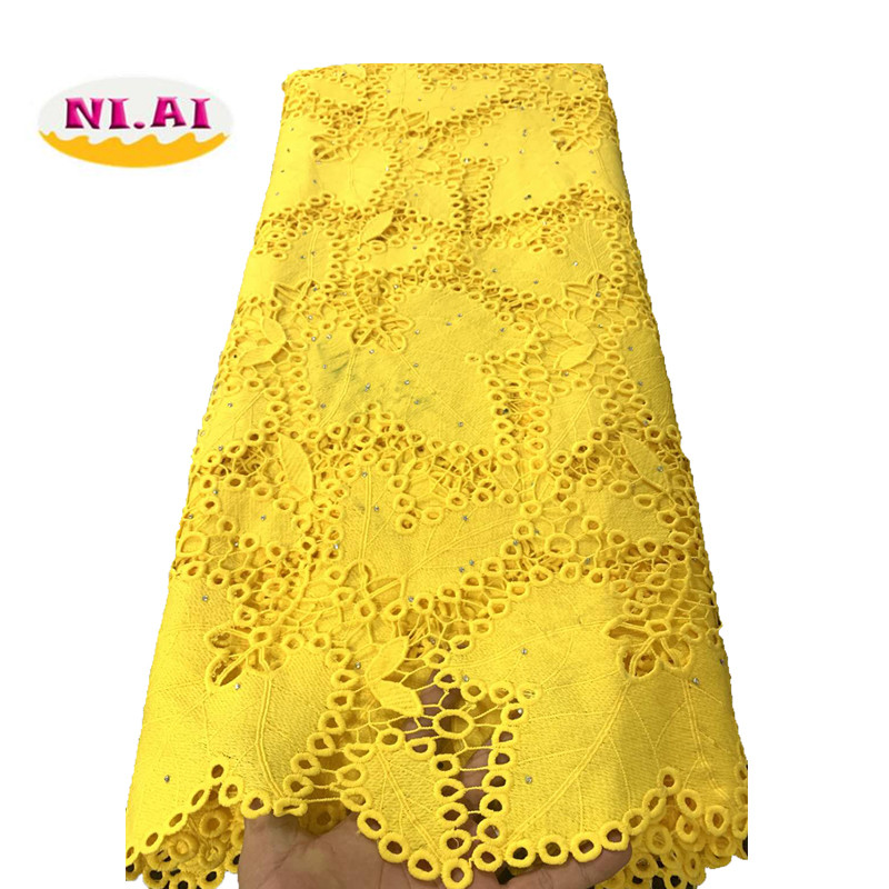 Yellow African Cord Lace Fabric Milk Silk Water Soluble Dress Lace Stones 2019 High Quality Nigerian Guipure Lace Fabric NI1812