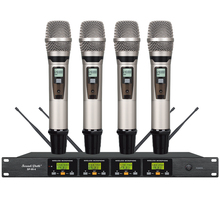 Skilled wi-fi UHF handheld microphone system DJ Karaoke four channel cordless Handheld mic straightforward function sizzling promoting
