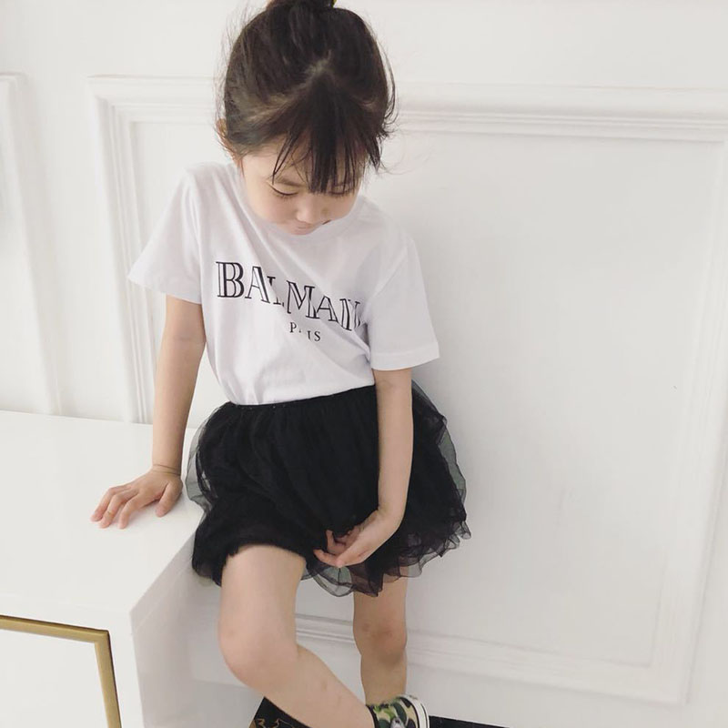 2018 Brand Summer Letter Print Tshirt for Boys Girls Kids White Gray Cotton T Shirt Clothing Children Tops Clothes letter print raglan hoodie
