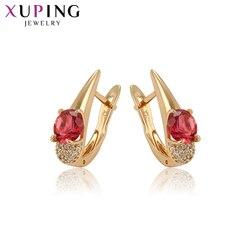 Xuping Elengant prosty okrągły wzór dla kobiet złoty kolorowy platerowany kolczyki w kształcie obręczy biżuteria prezenty 97454