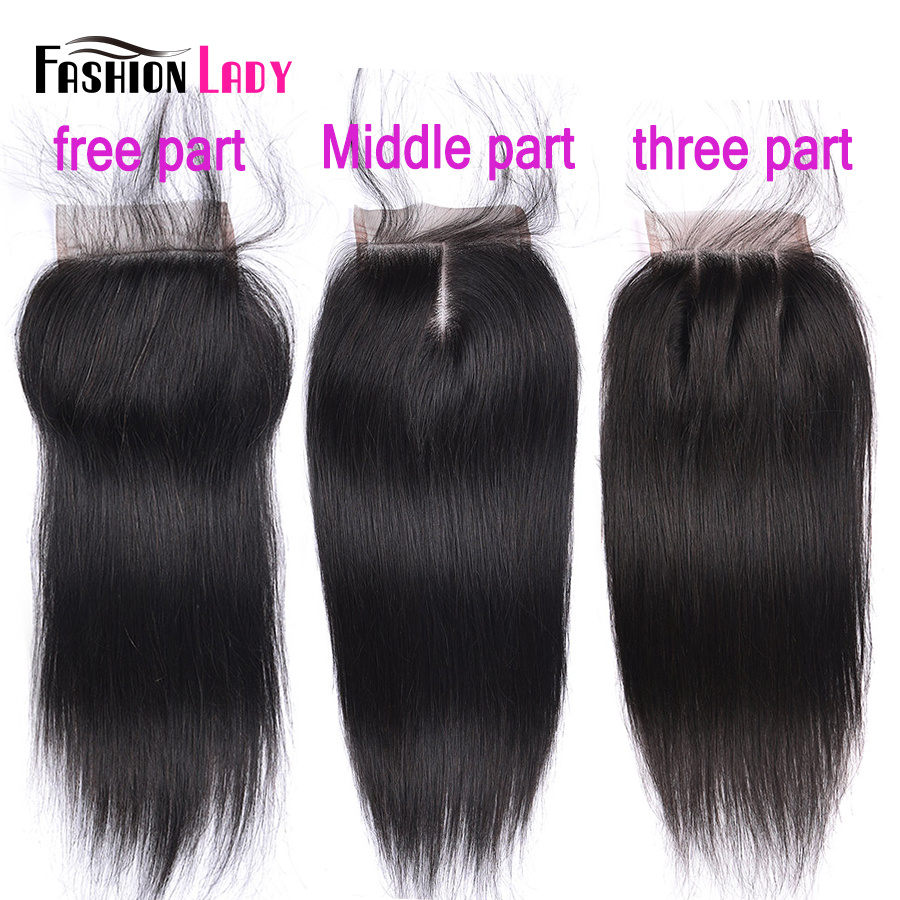Fashion Lady Pre-Colored Brazilian Straight Closure Human Hair Lace Closure Natural Color 4x4 Free Three Middle Part Non-remy