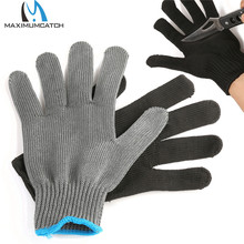 Maximumcatch Fishing Fillet Glove Cut Resistant Grey Black Stainless Left/Right Hand Size L