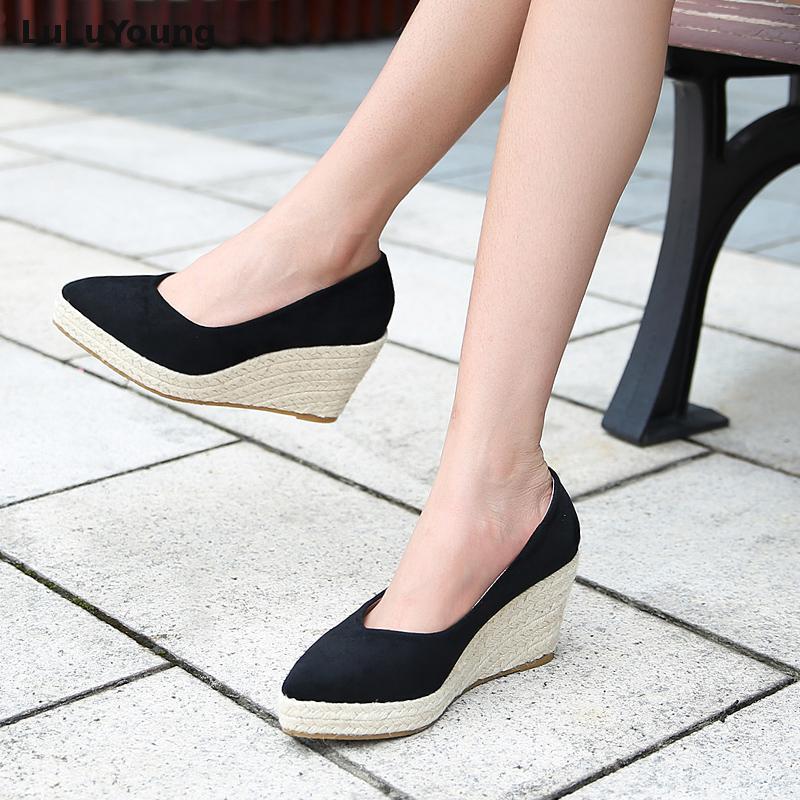 Profonde Pointu Compensées Talon Femmes Haute 10 Chaussures bleu Plates Cm Fond Noir Paille formes Épais jaune De Peu fwH11