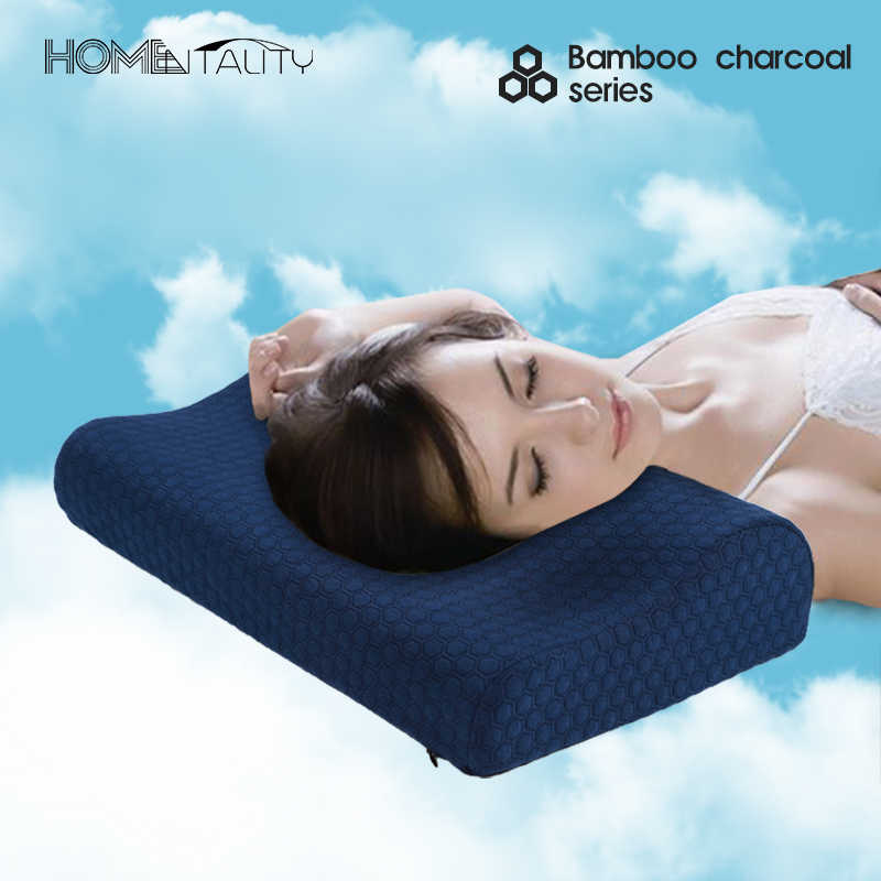 Bamboo Charcoal Memory Foam Pillow Magnetic Therapy Neck Pillow Travesseiro Cervical  Orthopedic Massage Bed Sleeping Pillow