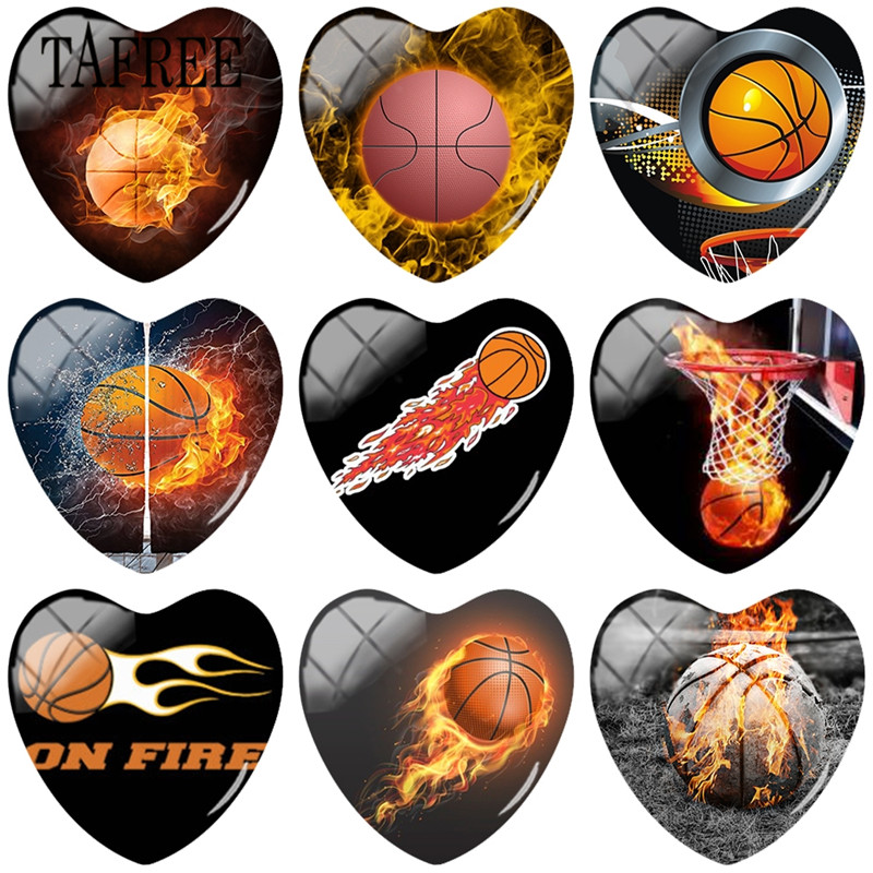 TAFREE Basketball fire Art Pictures Heart Shape 25mm DIY Glass Cabochon Glass Gems Jewelry Findings Accessories in Jewelry Findings Components from Jewelry Accessories