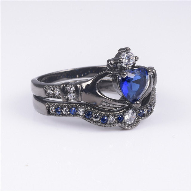 Claddagh Ring Heart 1ct Blue Sapphire Black Gold Womens Wedding
