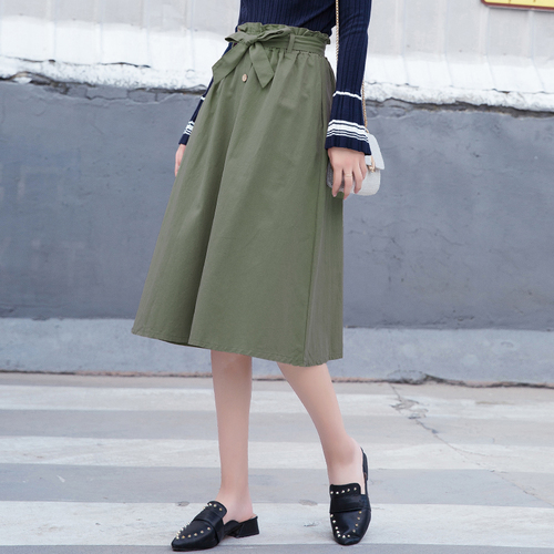 MSSNNG 2018 women bow tie sashes midi skirt buttons japanese fashion elastic waist ladies red skirts high street brand 2