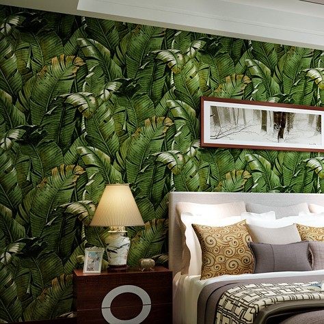 3D Wallpaper Southeast Asian Green banana leaf wallcoverring bedroom living room TV backdrop wall background papel de parede southeast asiabanana leaf wallpaper designs super heavy nice quality wallpaper for papel de parede moderna for living room