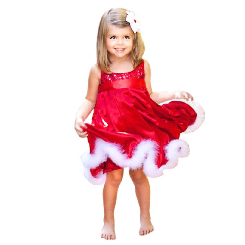 Fashion Baby Girls Dress Kids Christmas Party Red Paillette Tutu Dresses Xmas Gift Sleeveless princess costume girls dress 10 christmas dress toddler kids baby girls clothes dress princess prom dress xmas striped party pageant tutu dresses