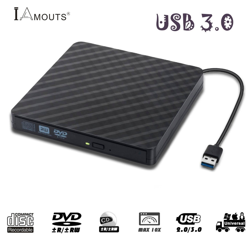 External DVD Burner, iAmotus Portable Ultra Slim USB 3.0 ...