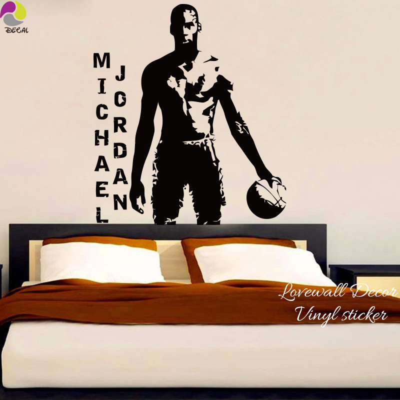 MICHAEL JORDAN Basketball Player Wall Sticker NBA Super Star Sport Wall Decal Kids Room Boy Room Bedroom Vinyl Home Decor dunk