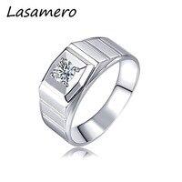 LASAMERO Rings for Men 0.334CT Round Cut Center Natural Diamond Ring Brilliant 18k White Gold Engagement Wedding Ring