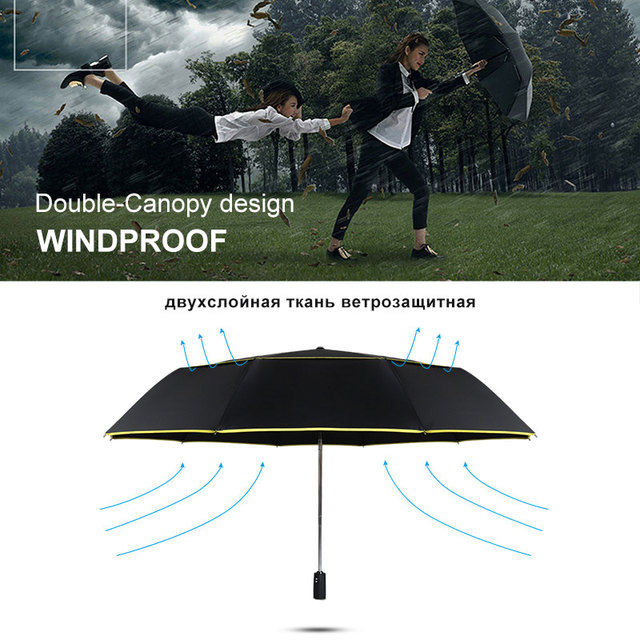 High Quality 120cm Fully-automatic Umbrella Men Rain Woman Double Layer 3 Folding Business Gift Umbrella Windproof Sun Umbrellas 4