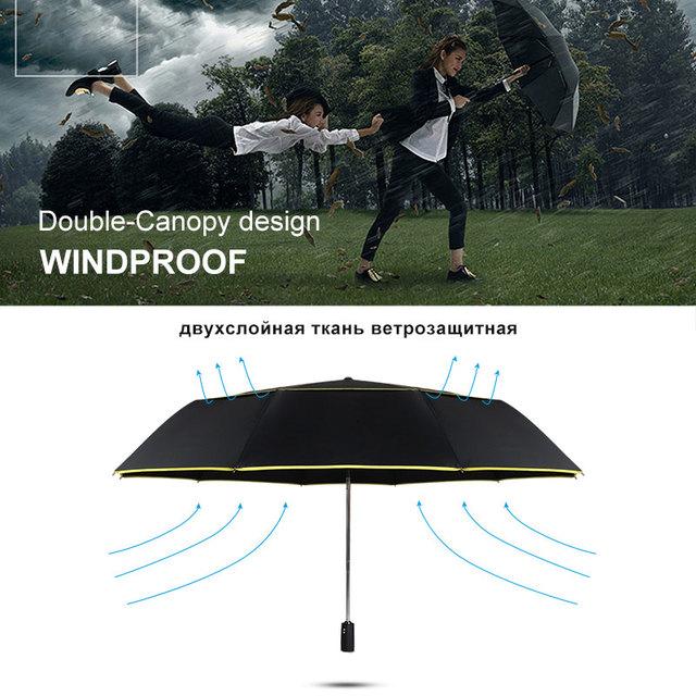High Quality 120cm Fully-automatic Umbrella Men Rain Woman Double Layer 3 Folding Business Gift Umbrella Windproof Sun Umbrellas