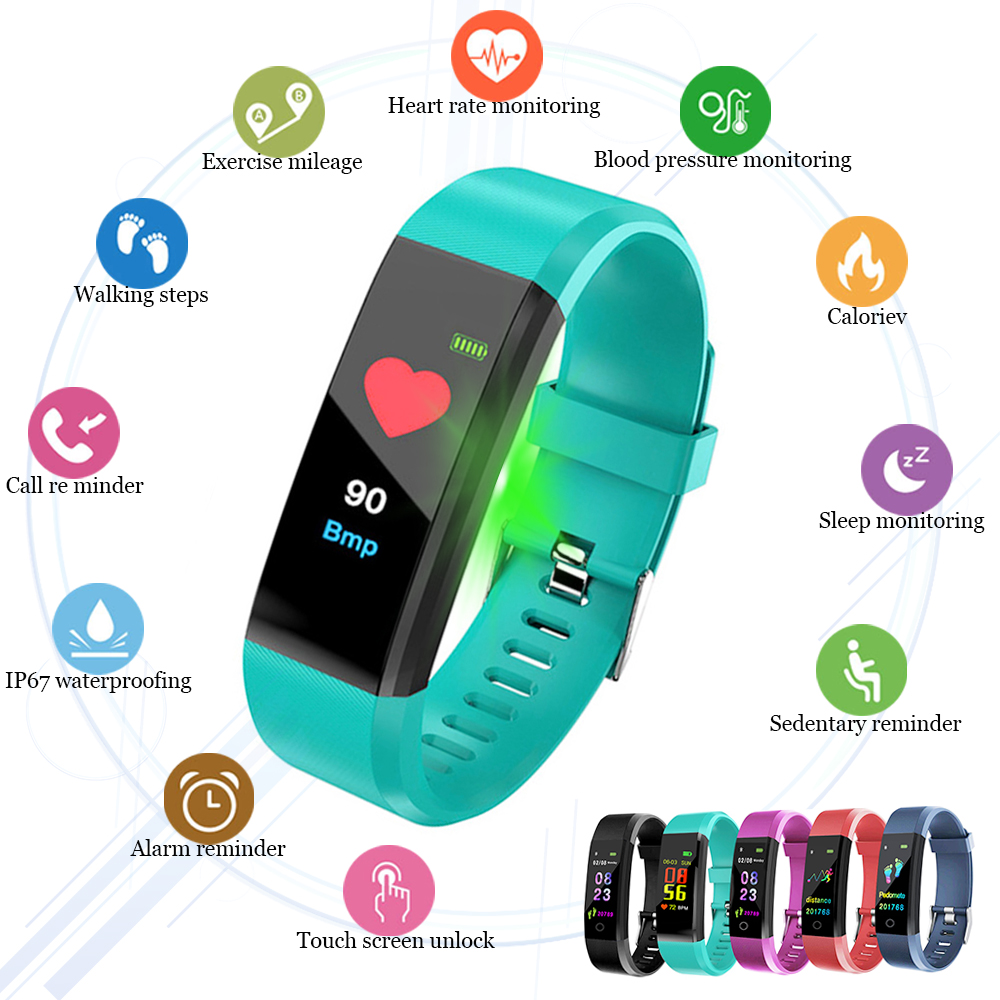 ID115 Plus Smart Bracelet Sport Bluetooth Wristbands Heart Rate Monitor Watch Waterproof Fitness Tracker Smart Band watch image