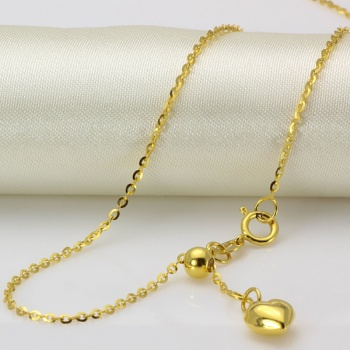 New Au750 Pure 18K Yellow Gold Chain Women O Link Necklace Adjustable 18inch 1