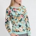 Harbeth 2016New Primavera Outono Camisola Das Mulheres Pullover Floral Camisola Ocasional Algodão Terry Impresso O-pescoço Mangas Compridas 2 Cores
