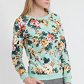 Harbeth 2016New Spring Autumn Women Sweater Floral Pullover Casual Sweater Cotton Terry Printed O-neck Long Sleeves 2 Colors