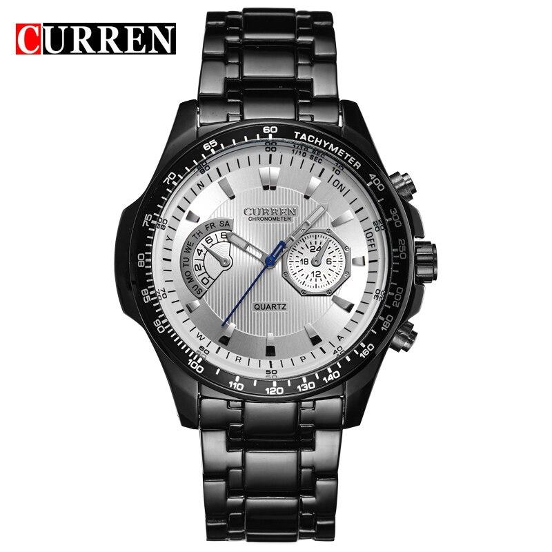 Curren quartz Black steel Vogue Business Military Man Men's watches 3ATM waterproof Dropship 8020 Relogio