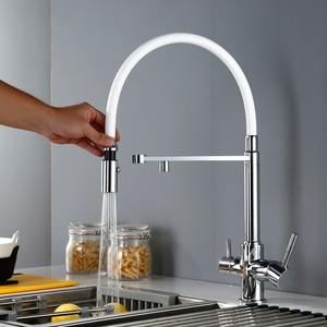Image 2 - 3 Manier Schoon Water Keuken Kraan Met Sproeier Draaibare Osmose Reverse Tri Flow Pull Down Kitchen Sink Mengkraan 18042