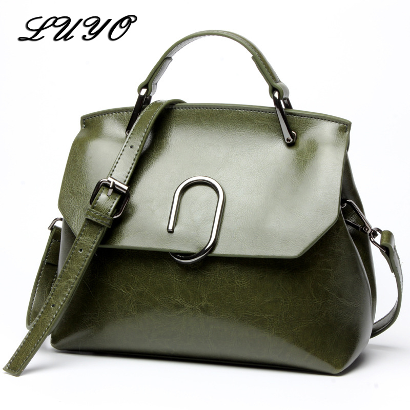 LUYO Fashion Genuine Leather Bag For Woman Luxury Handbags Women Bags Designer Girl Shoulder Bag Female Famous Brand Doctor