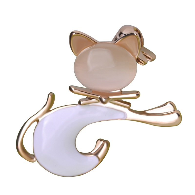 Enamel Esmalte Opal Black Cat Brooches Hat Accessories Shoulder Decoration Scarf Clips Gold Color Kawaii Jewelry Love Gift
