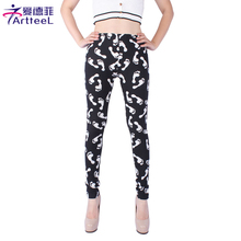 Women Fashion Legging Footprint Printing Leggings Slim High Elastic Leggins Skinny Woman Pants QXW-33