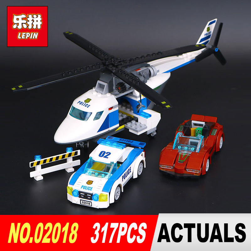 LEPIN 02018 Genuine City Policemen Series 317Pcs speed pursuit of plane Set Building Blocks Brick Model Toys for Children 60138 супер мозаика d20 5цветов 40 фишек 02018