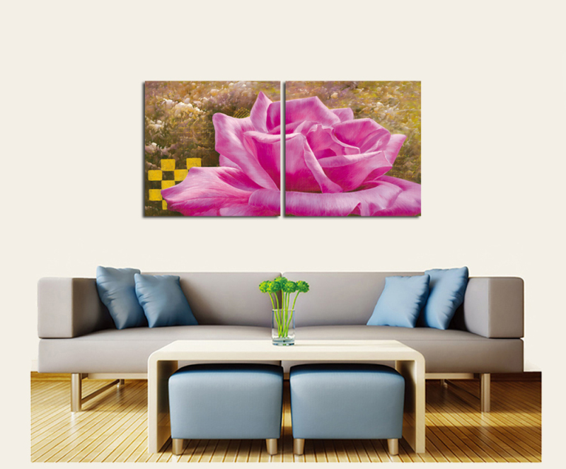 2PCS Pink Flower Vintage Poster Canvas Oil Painting Modern Pattern ...